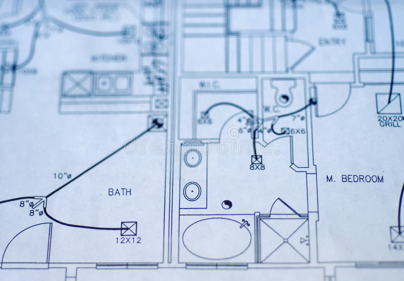 Hausplanlichtpausen stockbild