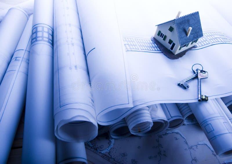 Hausplanlichtpausen stockbilder