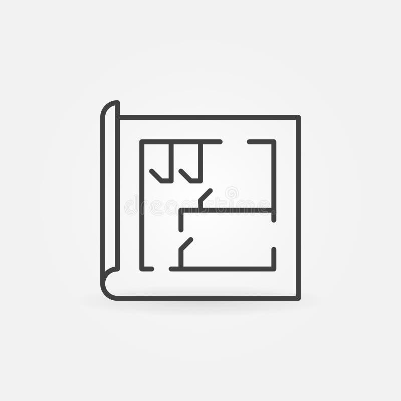 Hausplanlinie Ikone stock abbildung