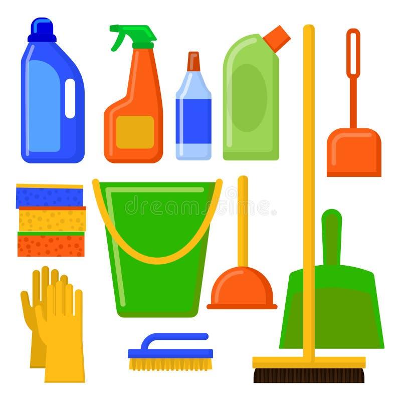 Hausreinigungswerkzeuge Reinigungselemente Haushaltsgerätikonen eingestellt stock abbildung