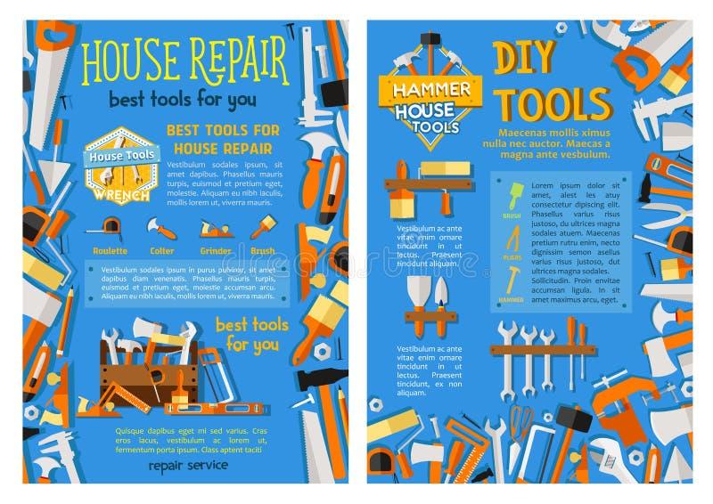 Hausreparatur-Arbeitswerkzeug, Handinstrument-Plakatsatz vektor abbildung