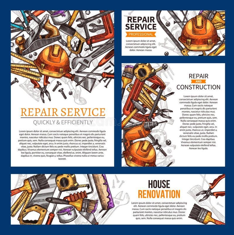 Hausreparatur- und -erneuerungsfahne mit Werkzeug lizenzfreie abbildung