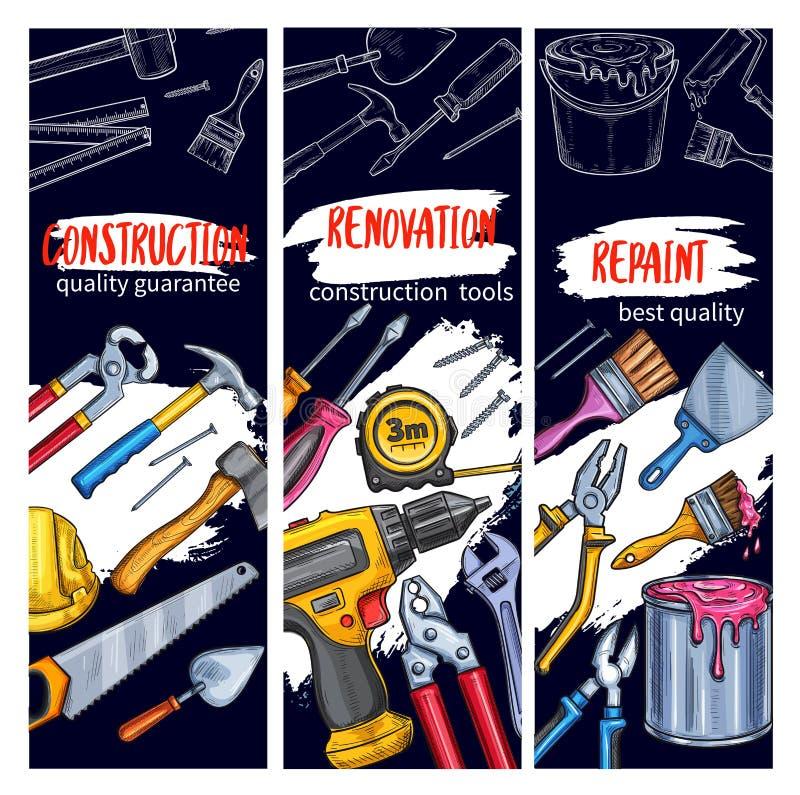 Hausreparatur und -malerei bearbeiten Werkzeugskizzenfahne stock abbildung