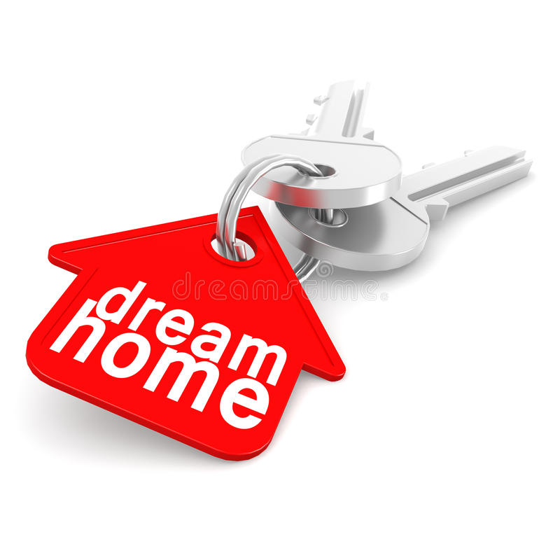 Hausschlüssel mit rotem Haus-Schlüsselanhänger stock abbildung