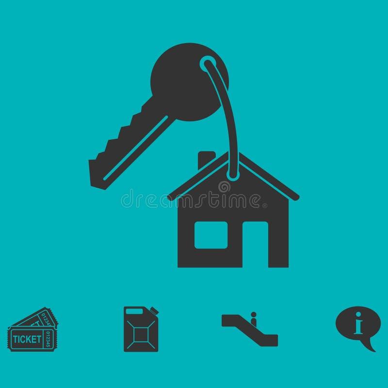 Hausschlüsselikone flach stock abbildung