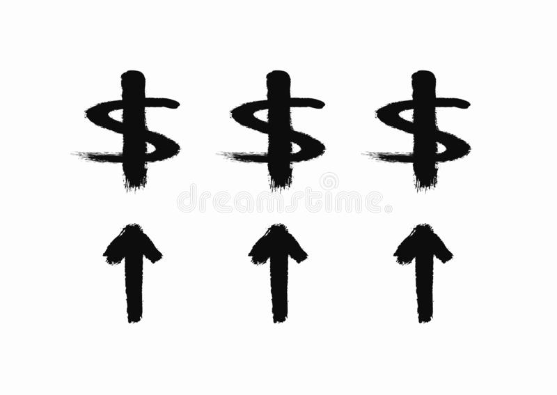Hausse de dollar Icône grunge dessinée à la main avec la brosse rugueuse Croquis, graffiti, aquarelle, peinture illustration stock