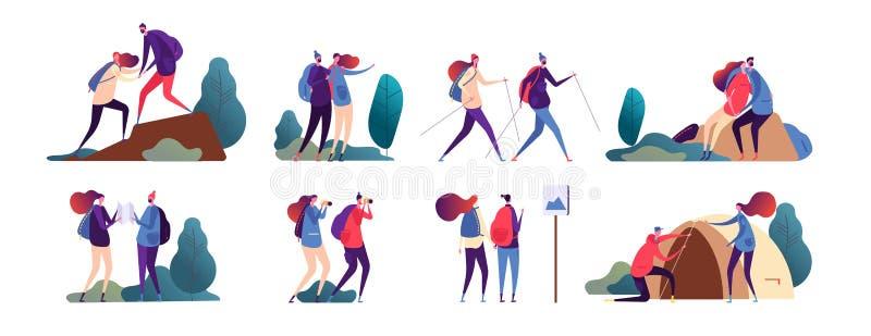 Hausse de gens Jeune voyage de couples ensemble Famille heureuse, touristes dans le camping et hausse en nature Campeur de vecteu illustration de vecteur