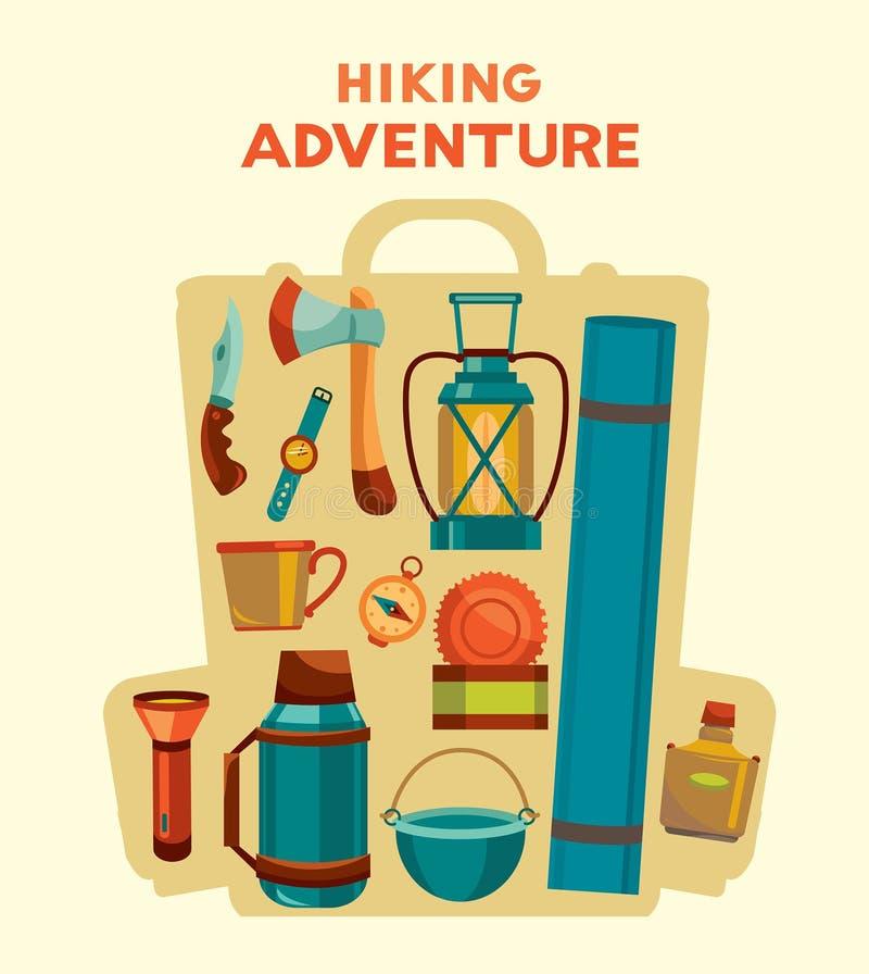 Hausse de l'aventure Ensemble d'équipement de camping dans le sac à dos illustration de vecteur