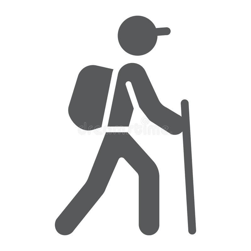 Hausse de l'icône de glyph, du voyage et du tourisme, touriste illustration stock