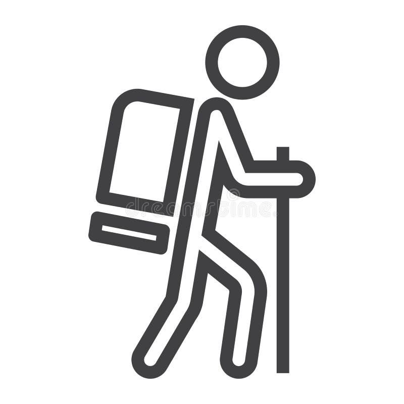 Hausse de la ligne icône, du voyage et du tourisme, touriste illustration de vecteur
