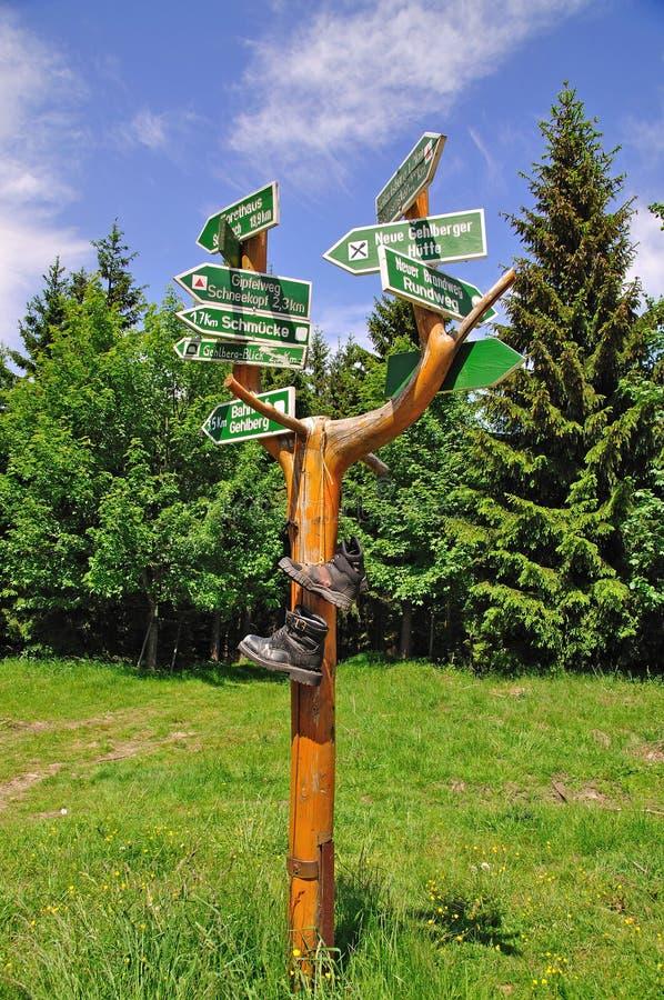 Hausse du guide, forêt de Thuringian photo stock