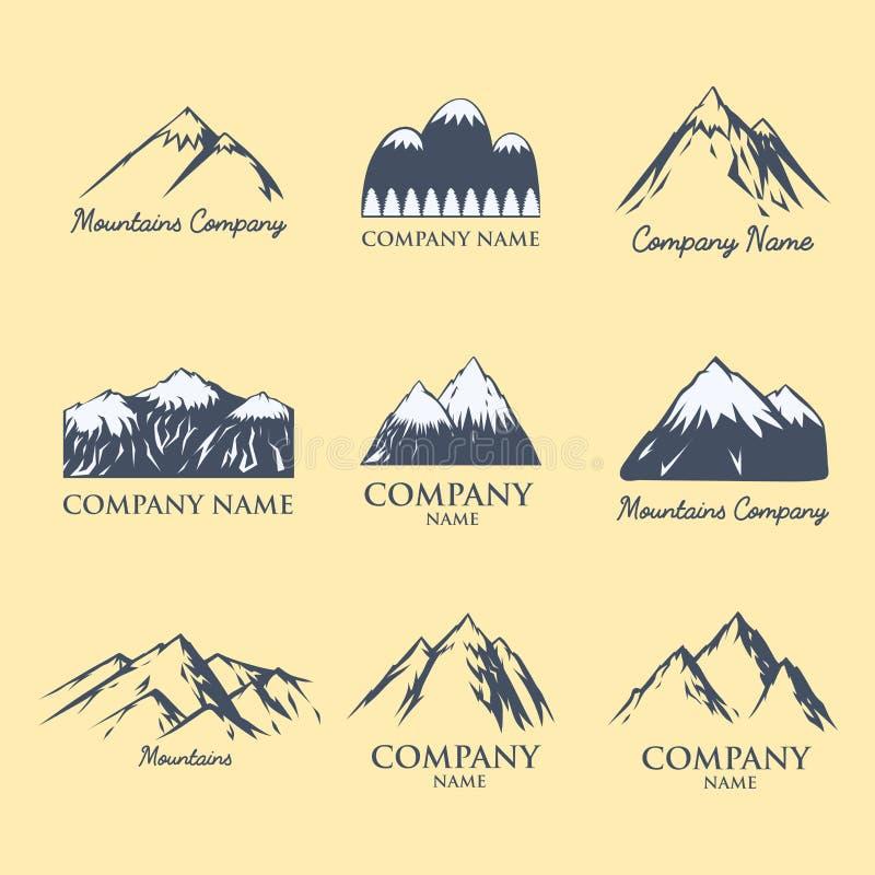 Hausse maximale s'élevante de colline de neige de nature de silhouette de vecteur de montagne de glace de voyage décoratif supéri illustration stock