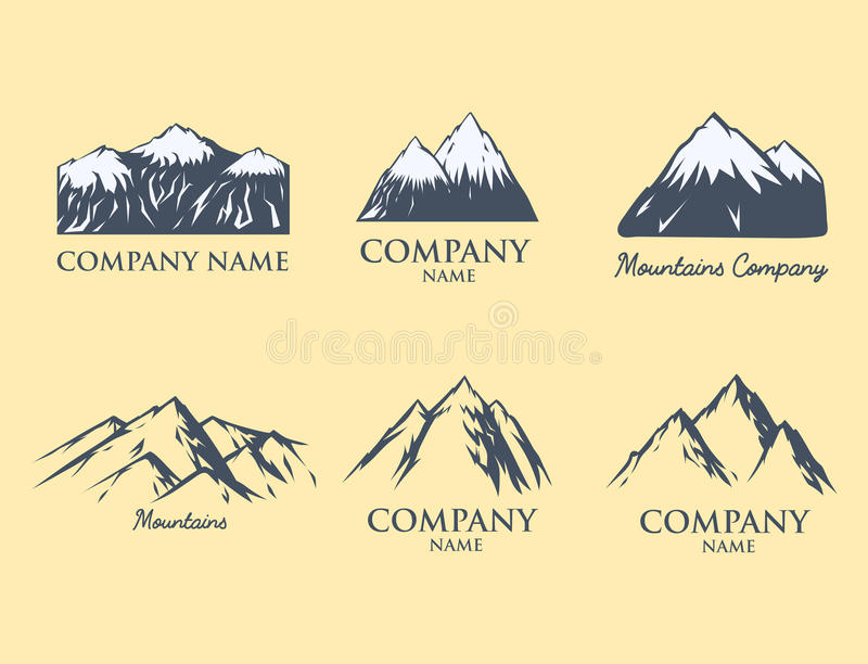 Hausse maximale s'élevante de colline de neige de nature de silhouette de vecteur de montagne de glace de voyage décoratif supéri illustration libre de droits