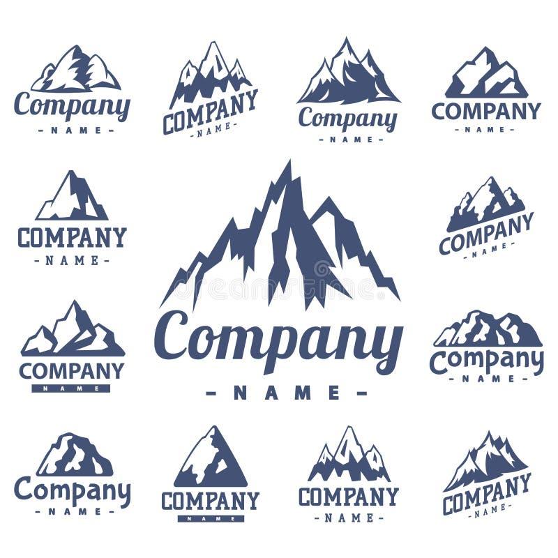 Hausse maximale s'élevante de colline de neige de nature de silhouette de vecteur de montagne de glace de voyage décoratif supéri illustration de vecteur