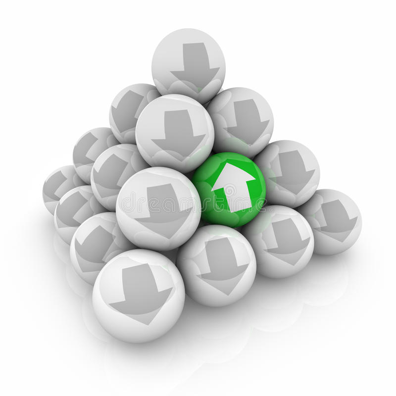 Hausses uniques de la pyramide une de boules de flèches contre le lutin d'augmentation de tendance illustration stock