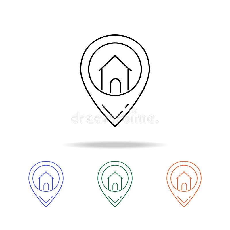 Hausstandortikone Elemente von Immobilien in den multi farbigen Ikonen Erstklassige Qualitätsgrafikdesignikone Einfache Ikone für lizenzfreie abbildung
