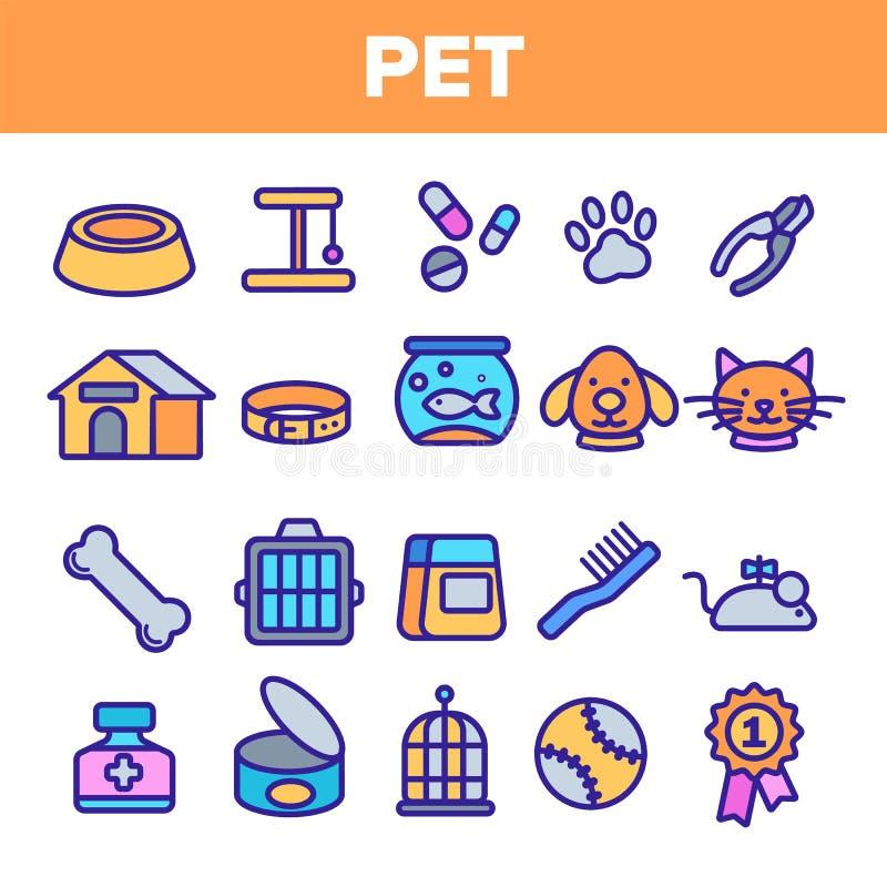 Haustier-Linie Ikonen-Satz-Vektor Tierpflege Pflegenhaustier-Symbol Hund, Cat Veterinar Shop Icon D?nne Entwurfs-Netz-Illustratio stock abbildung