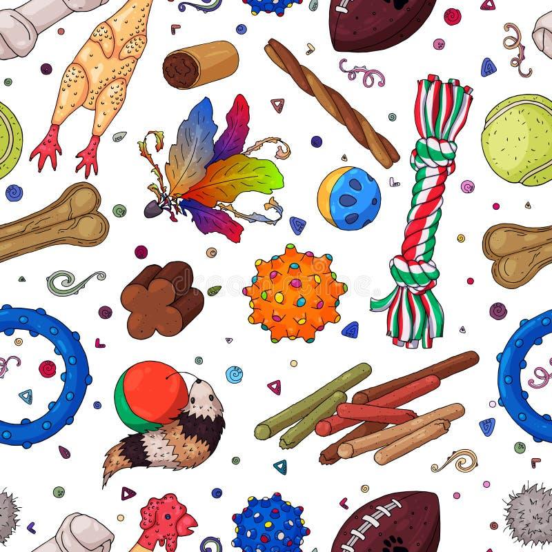 Haustier spielt das Muster, gefärbt stock abbildung