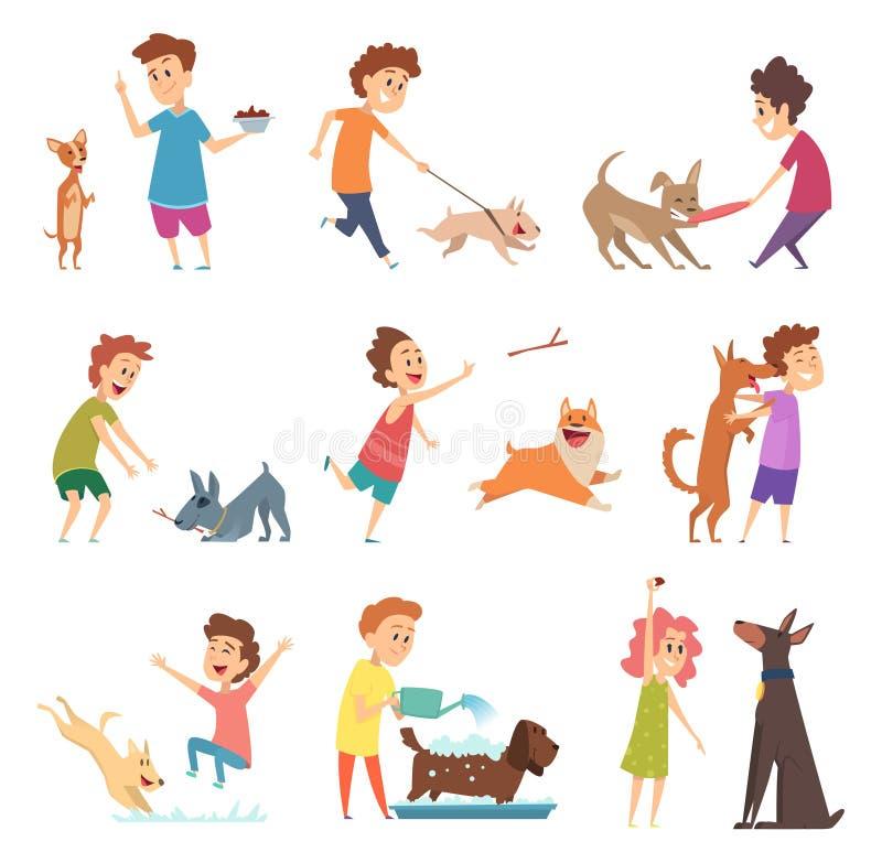 Haustiere und Kinder Glückliche kleine Hündchen und ihre Eigentümer, die lächelnde Fütterungsvektortiere spielend umarmen vektor abbildung