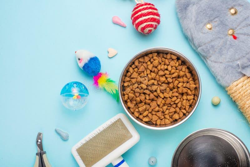 Haustiere und nette Tiere, Haustiere, nette Katzen, Nahrung und Zusätze für das Leben der Katze, flache Lage, Raum für einen Aufb lizenzfreies stockbild
