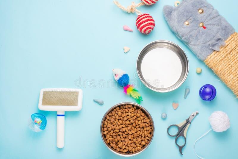 Haustiere und nette Tiere, Haustiere, nette Katzen, Nahrung und Zusätze für das Leben der Katze, flache Lage, Raum für einen Aufb lizenzfreie stockbilder