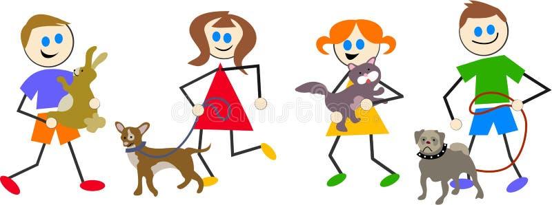 Haustierkinder stock abbildung