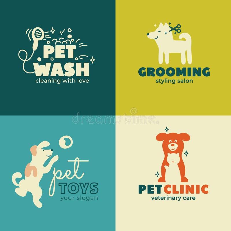 Haustierpflegelogo Visitenkarte oder Fahne Entwurf lizenzfreies stockbild