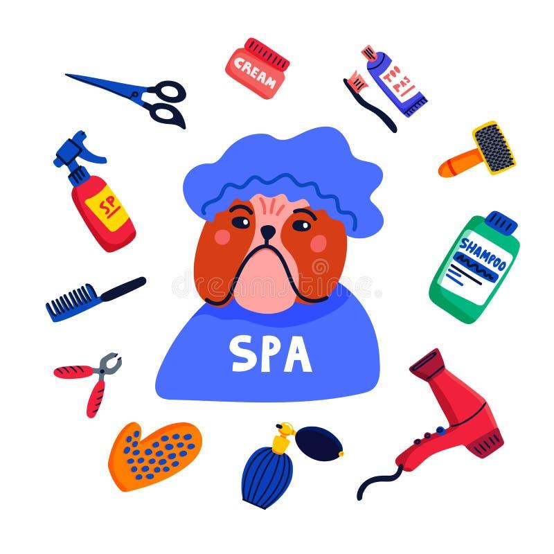 Haustierpflegenkonzept Hundebadekurort Bulldoggenduschkappe mit Pflegenelementkamm, Shampoo, Handtrockner usw. Auf Wei? lizenzfreie abbildung