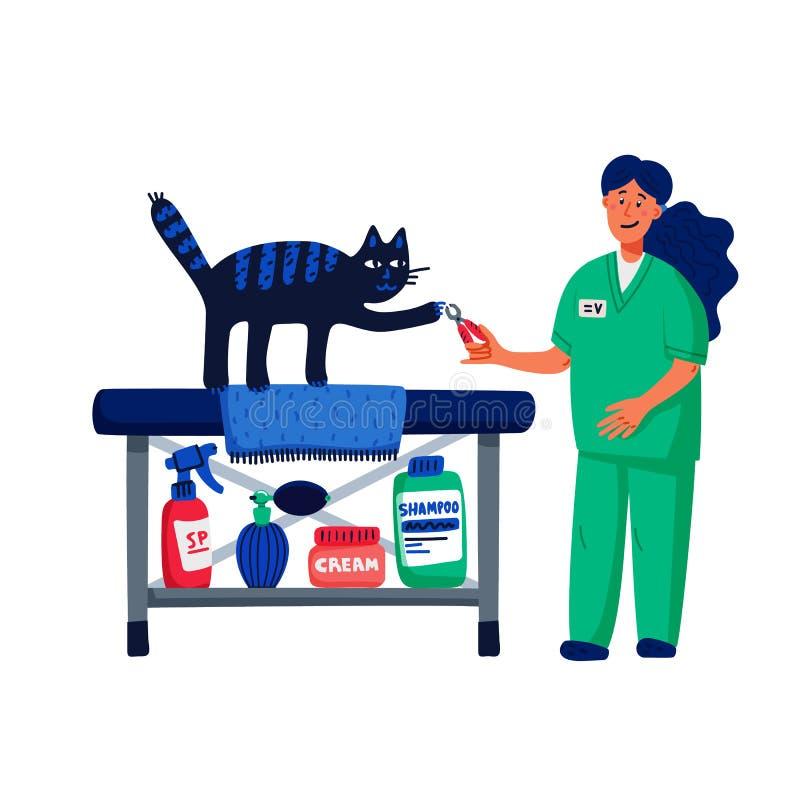 Haustierpflegenkonzept Junge Frau, die Katzengreifer schneidet Katzensorgfalt, pflegend, Hygiene, Gesundheit Geschäft für Haustie lizenzfreie abbildung
