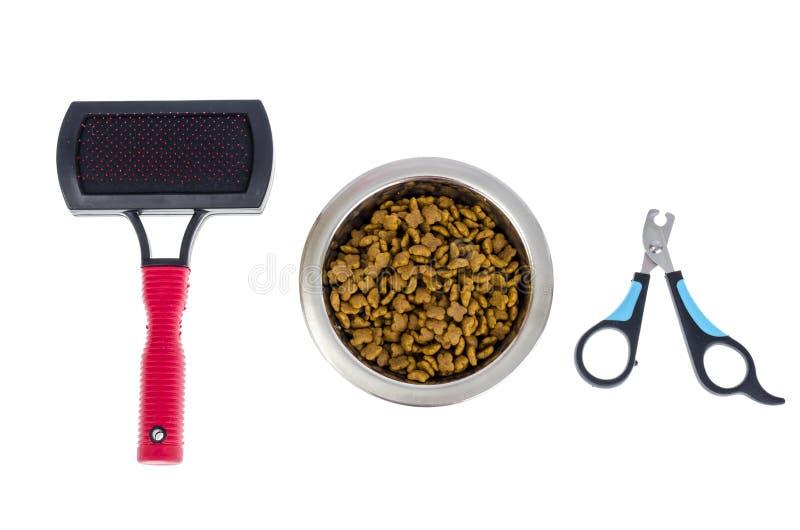 Haustierpflegezusätze, Nahrung lokalisiert auf Weiß lizenzfreies stockbild