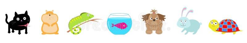 Haustiersatzlinie Katze, Hund, Fischaquarium, Hamster, Leguan, Schildkr?te, Kaninchenhase Nettes Karikatur kawaii lustiger Charak stock abbildung