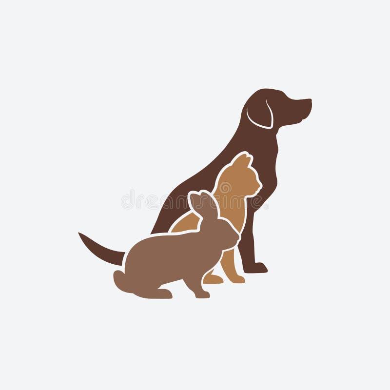 Haustierschattenbilder Hund, Katze und Kaninchen Logo des Haustierspeichers oder der Veterinärklinik vektor abbildung