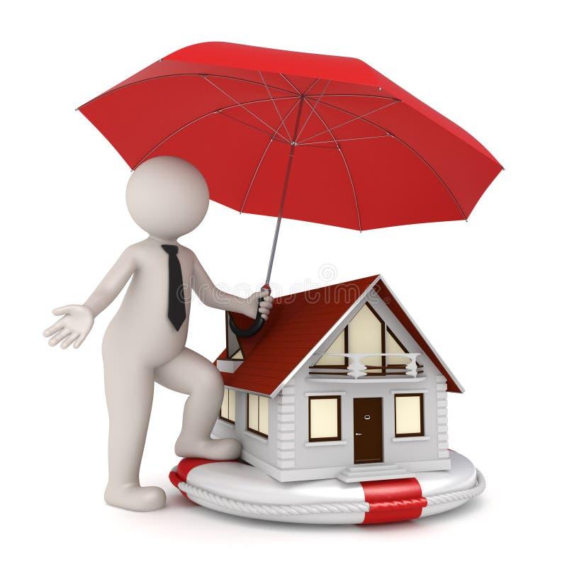 Hausversicherung - 3d Geschäftsmann stock abbildung