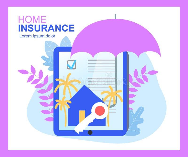 Hausversicherungs-Versicherungsvertrag-Zeichen-Regenschirm-Haus-Schlüssel lizenzfreie abbildung