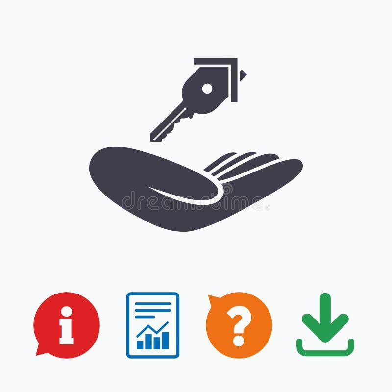 Hausversicherungszeichen Hand hält Grundstellungstastensymbol vektor abbildung