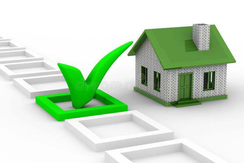 Hauswahl auf weißem Hintergrund stock abbildung