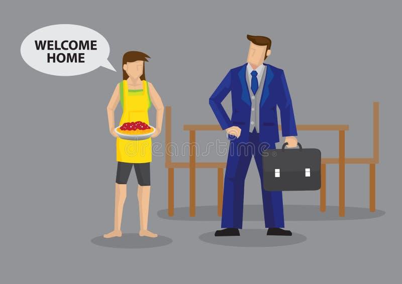 Hauswirtschaftsleiterin-Frau-Willkommen, die Ehemann-Hauptkarikatur-Vektor Illu Arbeits sind lizenzfreie abbildung