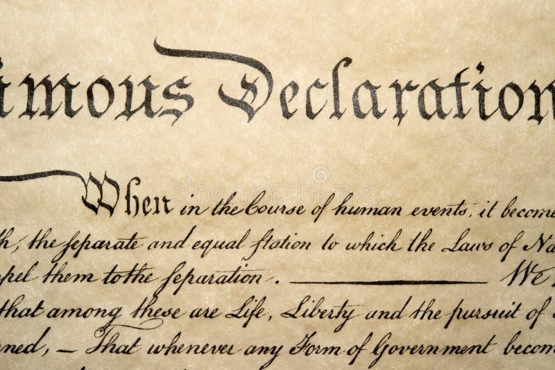 Haut étroit de déclaration d'indépendance le 4 juillet 1776 photo stock