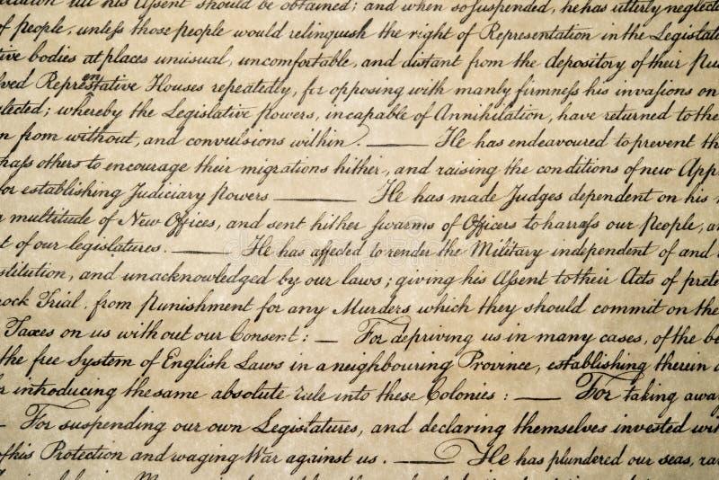 Haut étroit de déclaration d'indépendance le 4 juillet 1776 photos stock