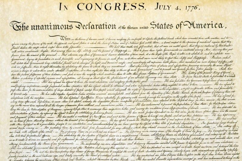 Haut étroit de déclaration d'indépendance le 4 juillet 1776 image stock