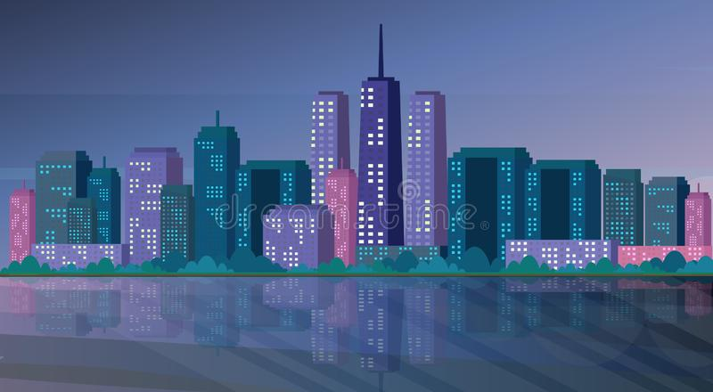 Haut appartement d'horizon de fond de paysage urbain de gratte-ciel de beau de rivière de nuit panorama de ville horizontal illustration de vecteur