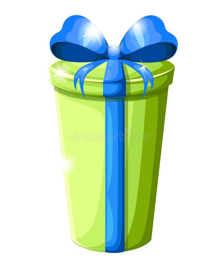 Haut boîte-cadeau rond avec l'arc bleu Récipient vert de Noël Illustration de vecteur d'isolement sur le fond blanc illustration stock