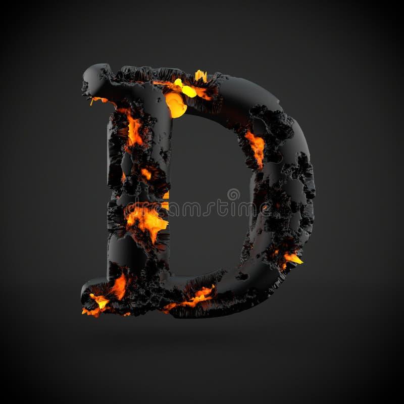 Haut de casse volcanique de la lettre D d'alphabet d'isolement sur le fond noir illustration libre de droits