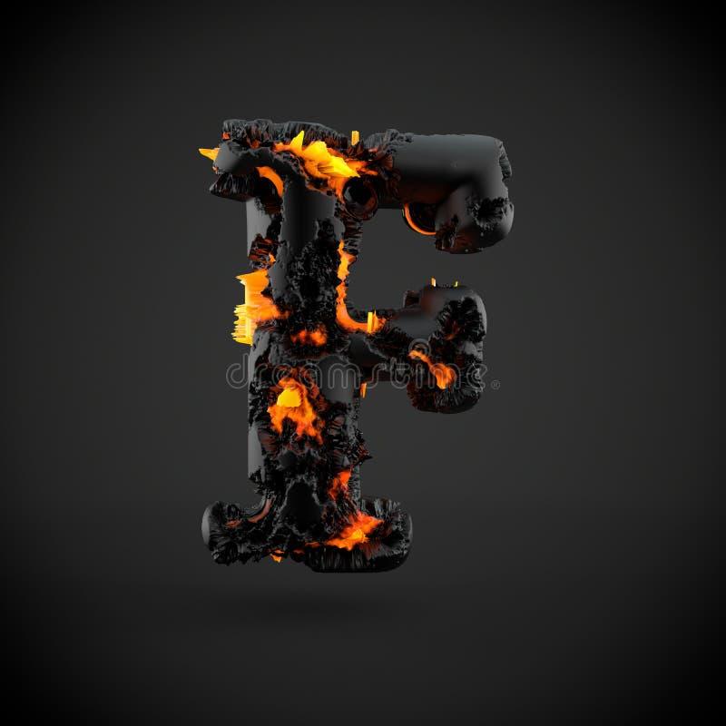 Haut de casse volcanique de la lettre F d'alphabet d'isolement sur le fond noir illustration de vecteur