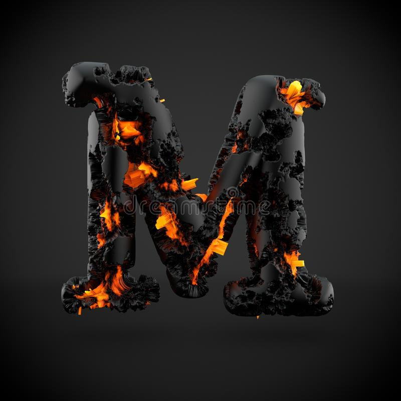Haut de casse volcanique de la lettre M d'alphabet d'isolement sur le fond noir illustration stock
