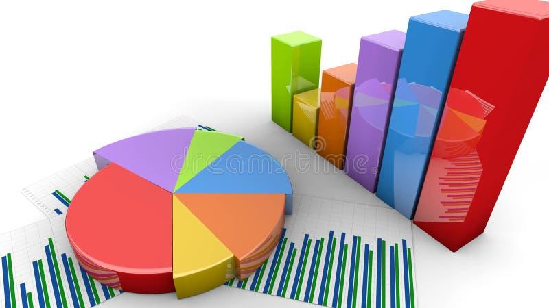 Haut de la page Secteur financier et barres d'armature, croissance graphique, graphique des chiffres de revenus illustration stock