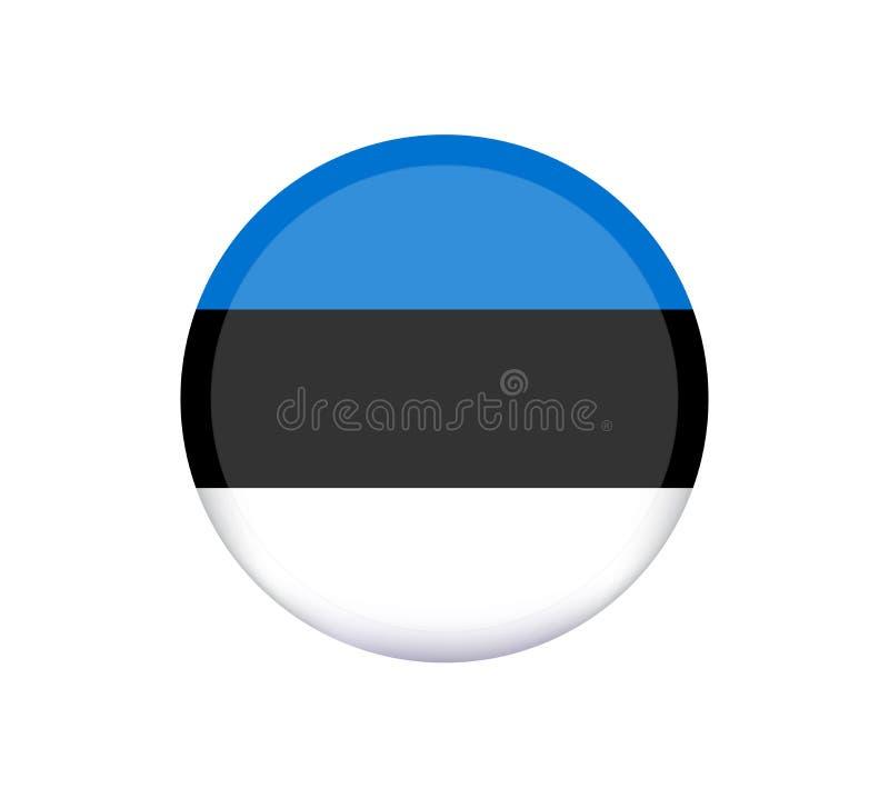 Haut drapeau détaillé de vecteur de l'Estonie Le drapeau de l'Estonie, couleurs officielles et proportionnent correctement Drapea illustration libre de droits