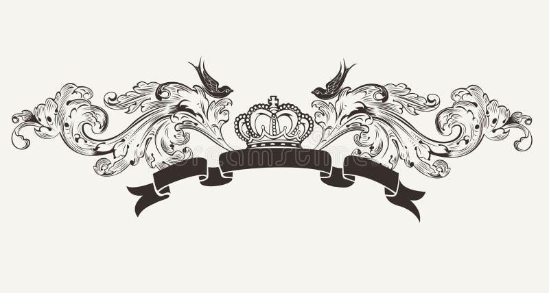 Haut drapeau fleuri royal des textes illustration de vecteur