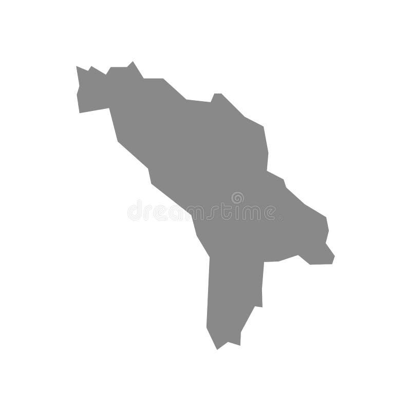 Haut Gray Map affecté de Moldau a isolé sur le fond blanc Carte de Moldau - triangulaire fripé géométrique gris, polygonale illustration stock