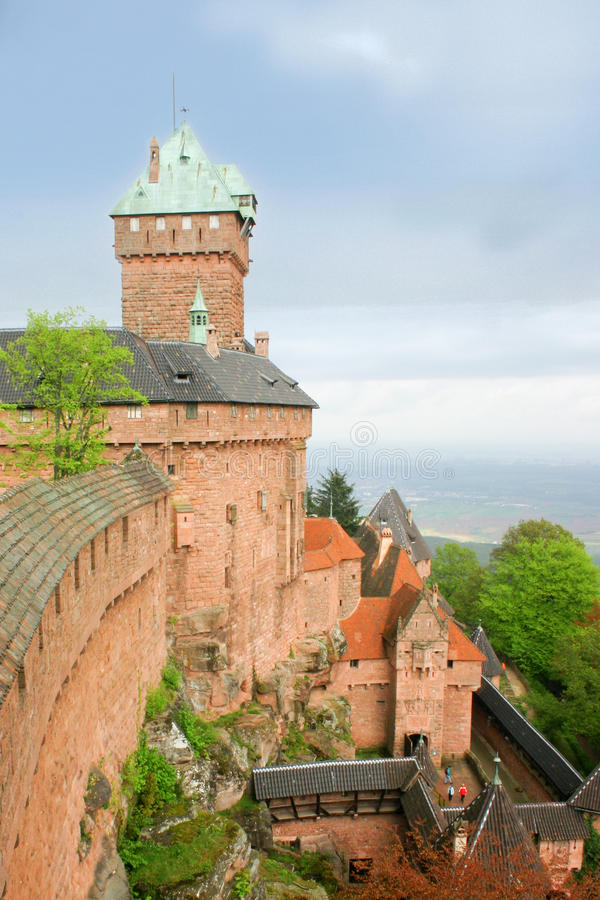 Haut-Koenigsbourg Castle, Alsace, France. Haut-Koenigsbourg Medieval Castle is the famous Castle of the Rhine Valley in Alsace (France) on which the Bruche stock photos